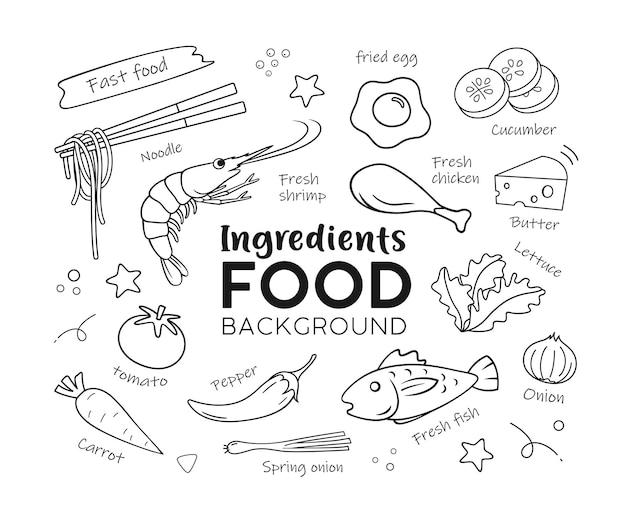 Zeichnen von lebensmittelzutaten isoliert auf weißem hintergrund-vektor-illustration