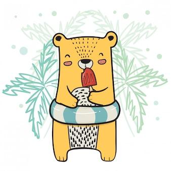 Zeichnender netter gelber bär mit dem rettungsring, der erdbeereis am stiel-eiscreme in der sommerzeit isst