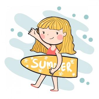 Zeichnendes nettes glückliches surfermädchen, das flachen vektor des sommersurfbrettes hält
