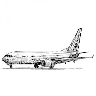 Zeichnung der flugzeuglandung am flughafen