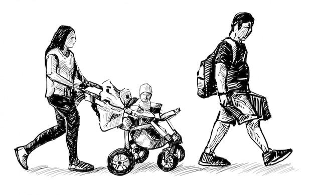 Zeichnung der passagierfamilie läuft am flughafen handzeichnung