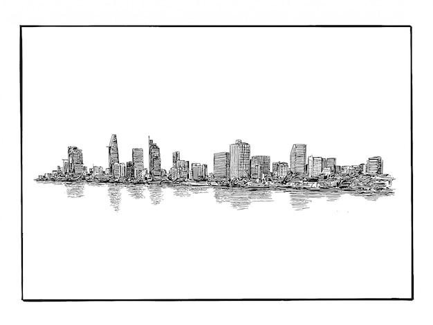 Zeichnung der skyline der stadt ho chi minh in vietnam