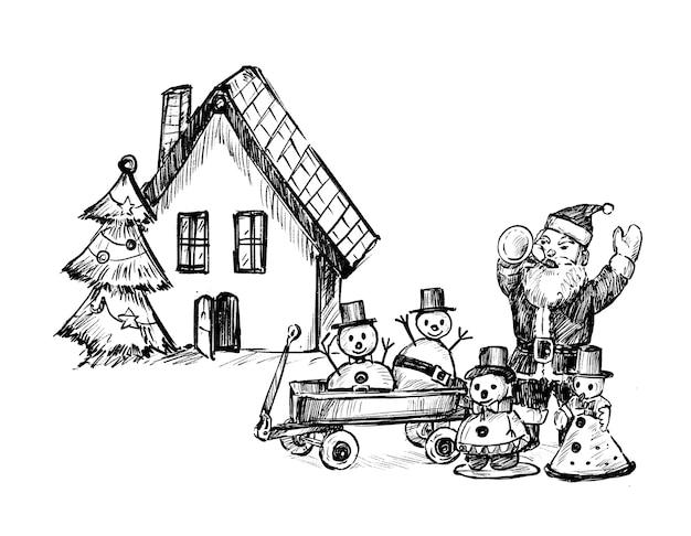 Zeichnung der weihnachtsfamilienhandzeichnung