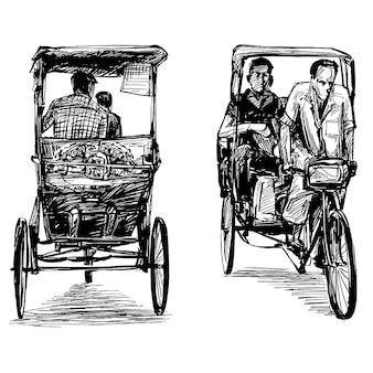 Zeichnung des dreiradmannes in indien
