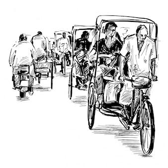 Zeichnung des dreirads auf der straße in indien