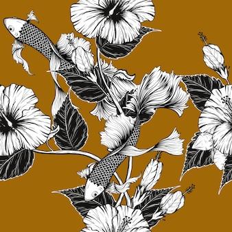Zeichnung des koi fisch- und hibiscusblumenmusters eigenhändig