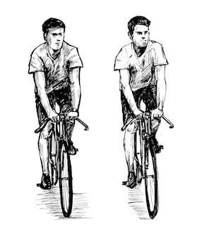 Zeichnung des mannes, der fahrradhandzeichnung befreit
