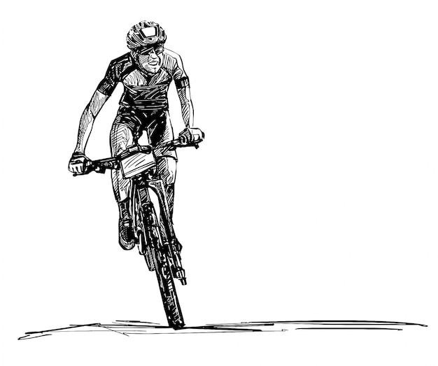 Zeichnung des mountainbike-wettbewerbs Premium Vektoren