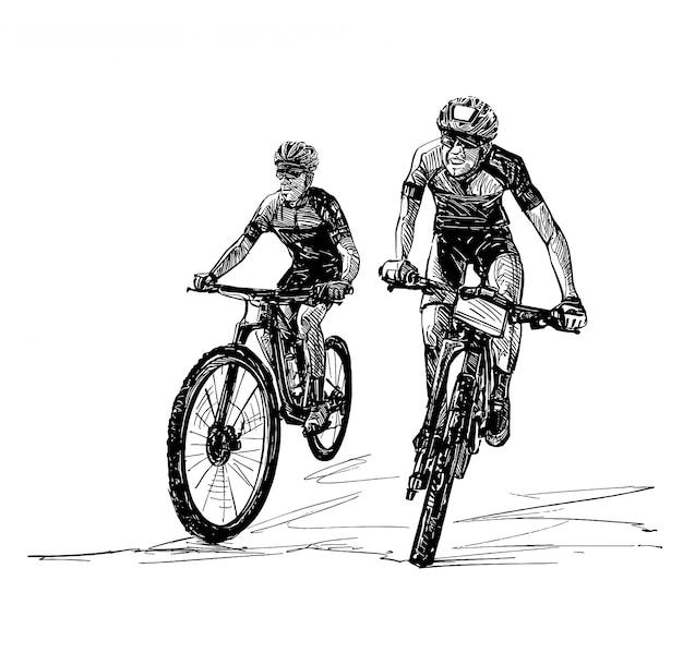 Zeichnung des mountainbike-wettbewerbs