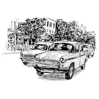 Zeichnung des taxis in indien