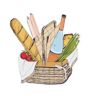 Zeichnung des traditionellen weidenpicknickkorbs für das essen im freien voller lebensmittel isoliert