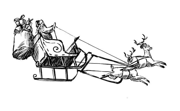 Zeichnung des weihnachtsmannes treibt rentier