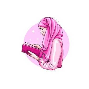 Zeichnung einer frau, die den al-qur'an für den islamischen ramadan kareem liest