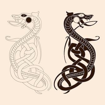 Zeichnung eines keltischen drachen.