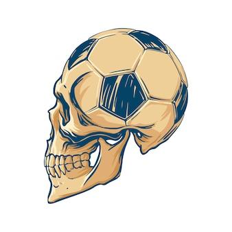 Zeichnung eines menschlichen schädels kombiniert mit einem fußball im vintage-stil. für fangemeinden, stickerdruck, t-shirts, souvenirs. vektor-illustration.
