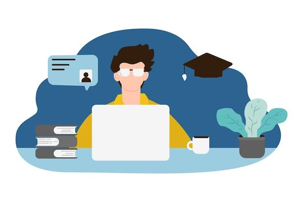 Zeichnung mann online-bildung im chat skizze illustration