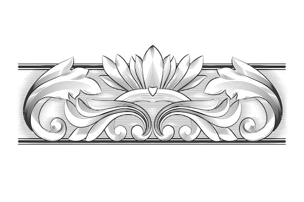 Zeichnung mit zierrand im barockstil