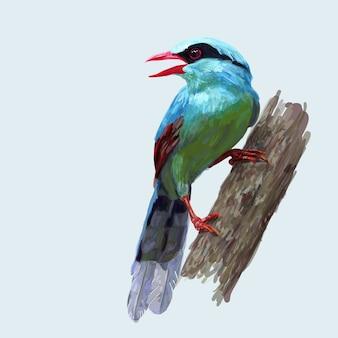 Zeichnung und farbton des allgemeinen grünen elstervogelgriffs auf zweig