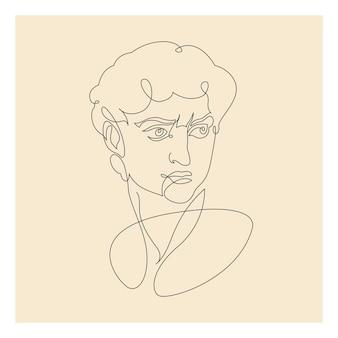 Zeichnung von david in einer durchgehenden linie. vektor-illustration.