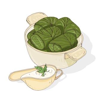 Zeichnung von dolma in schüssel und soße in soßenboot. leckeres georgianisches essen aus mit hackfleisch gefüllten weinblättern. traditionelles kaukasisches essen