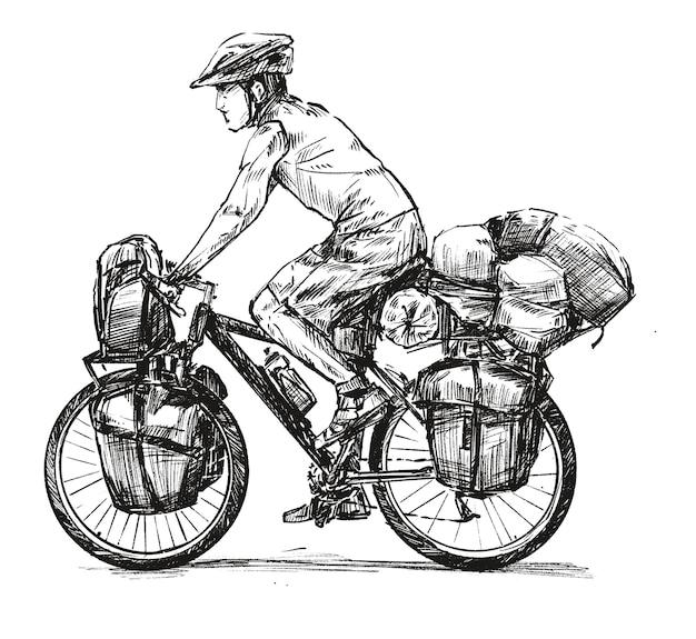 Zeichnung von fahrrad touring hand zeichnen