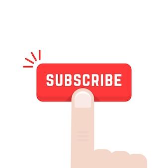 Zeigefinger auf abonnieren-schaltfläche. konzept von datenfeed, stream, journal, anzeigenmarke, support, sub, navigation, zeitung. flat style trend moderne grafik design vector illustration auf weißem hintergrund