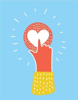 Zeigefinger auf rosa herzknopf. menschliche hand auf liebessymbol. hand- und fingersymbol. signal finger klicken auf schaltfläche. st valentine tippen sie auf herz-symbol. herz schieben. rosa liebeszeichen in der hand. cursorsymbol