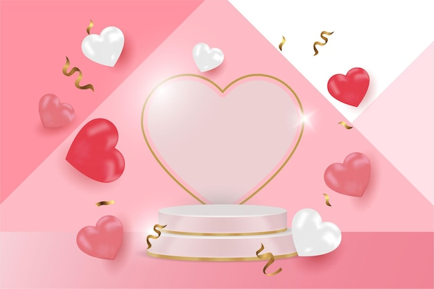 Zeigen sie das glückliche valentinstag-banner des produkts an