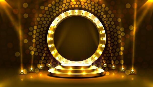 Zeigen sie die lichtbühnen-podiumsszene mit für die preisverleihung auf goldenem hintergrundvektor
