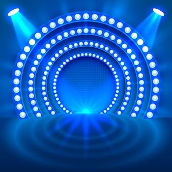 Zeigen sie hellen podiumblauen hintergrund. vektor-illustration
