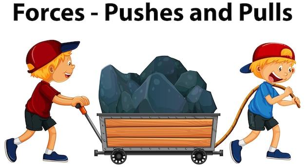 Zeigen von pushs and pulls force beispiel mit kindercharakter