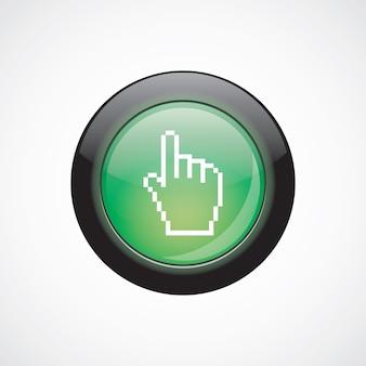 Zeiger-pixel-cursor-glas-zeichen-symbol grün glänzende schaltfläche. ui website-schaltfläche