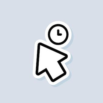 Zeiger-symbol-aufkleber. cursor-zeichen. klicken sie auf das symbol. computermaus, cursor, zeigen. pfeil und warten. vektor auf isoliertem hintergrund. eps 10.