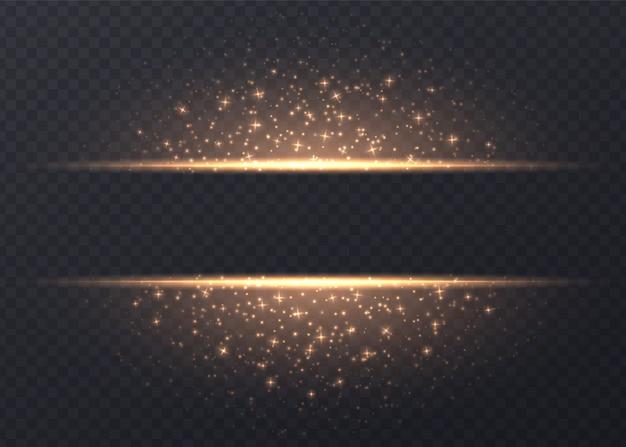 Zeilen mit den sternen und scheinen getrennt. goldener leuchtender hintergrund mit staub und grellen blicken. leuchtender vektor lichteffekt.
