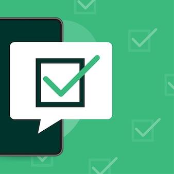 Zeilenumfrage-laptop im flachen stil auf grün