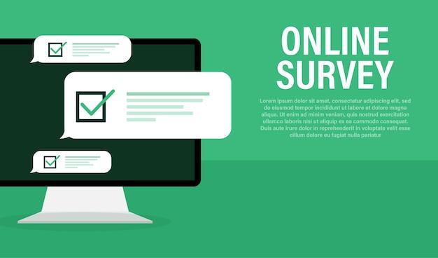 Zeilenumfrage-laptop in flach auf grün