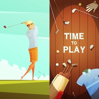 Zeit, 2 retro-cartoon-banner mit golfausrüstung und spieler auf kurs zu spielen