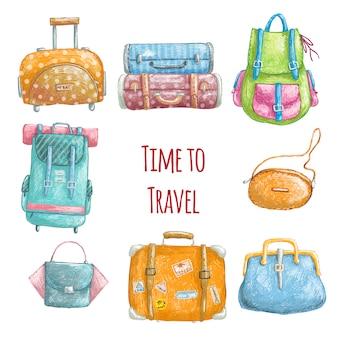 Zeit, bleistiftkunstsatz zu reisen