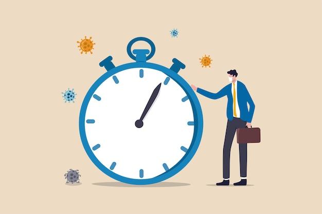 Zeit-countdown für den ausbruch des coronavirus covid-19, um die globale wirtschafts- und geschäftsunterbrechung oder das quarantänekonzept zu beeinflussen. geschäftsmann trägt eine gesichtsmaske, die mit der zeit steht, die die stoppuhr herunterzählt.
