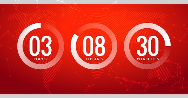 Zeit-countdown-uhr-timer-kreisnummer. stoppuhr-vektorzähler digitaler ui moderner timer.