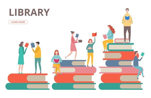 Zeit, das konzept zu lesen. bibliothek, selbstbildung, studenten mit buchillustration