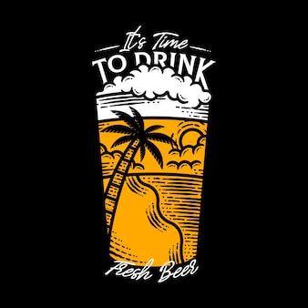 Zeit, frische bier-schriftzug-illustration zu trinken