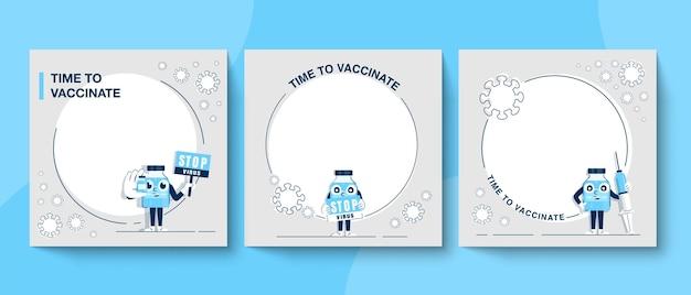 Zeit für das konzept der coronavirus-impfung. banner der pr-kampagne zur aufklärung über das coronavirus
