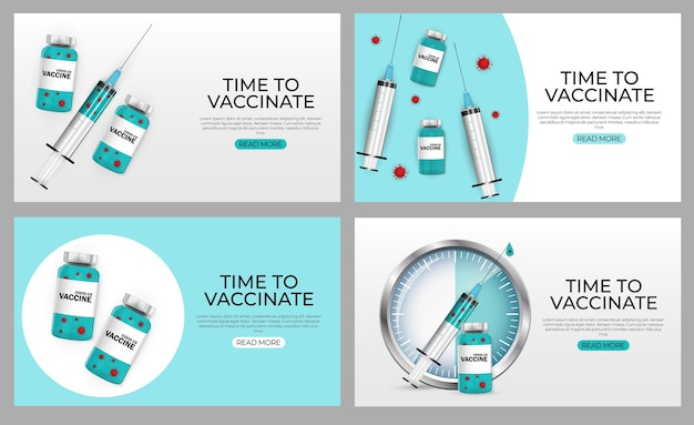 Zeit für die impfung 2021 baner set. coronavirus-impfung