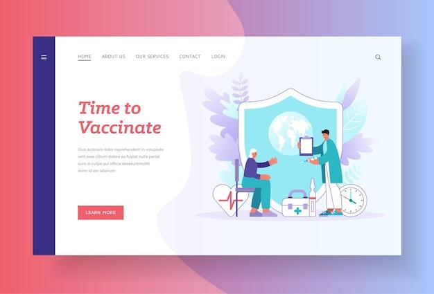 Zeit für die impfung landingpage-vorlage