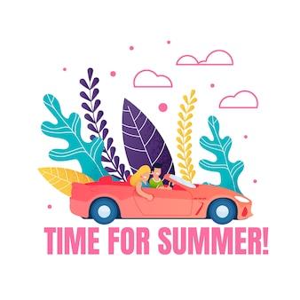Zeit für die sommerliche motivationsphrase. cartoon paar auto fahren