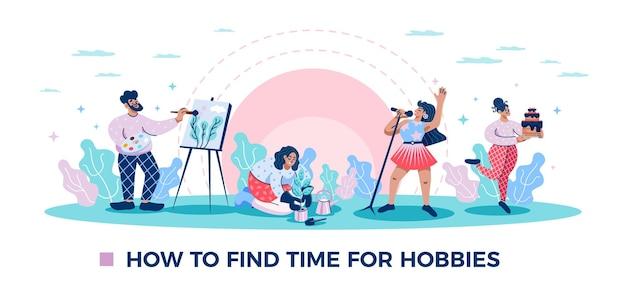 Zeit für hobbys horizontale flache lustige komposition mit gartenbacken, das naturzeichnung singt