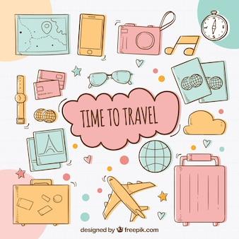 Zeit für reisen hintergrund mit elementen