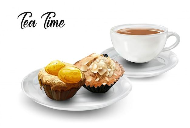 Zeit für tee mit kaffee und muffins