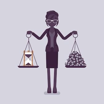 Zeit, geld gute balance für geschäftsfrau. frau in der lage, harmonie zu finden, angenehme gewinnvereinbarung, lebensvereinbarung, gewichte in den händen halten, richtige lebensweise. vektorillustration, gesichtslose charaktere